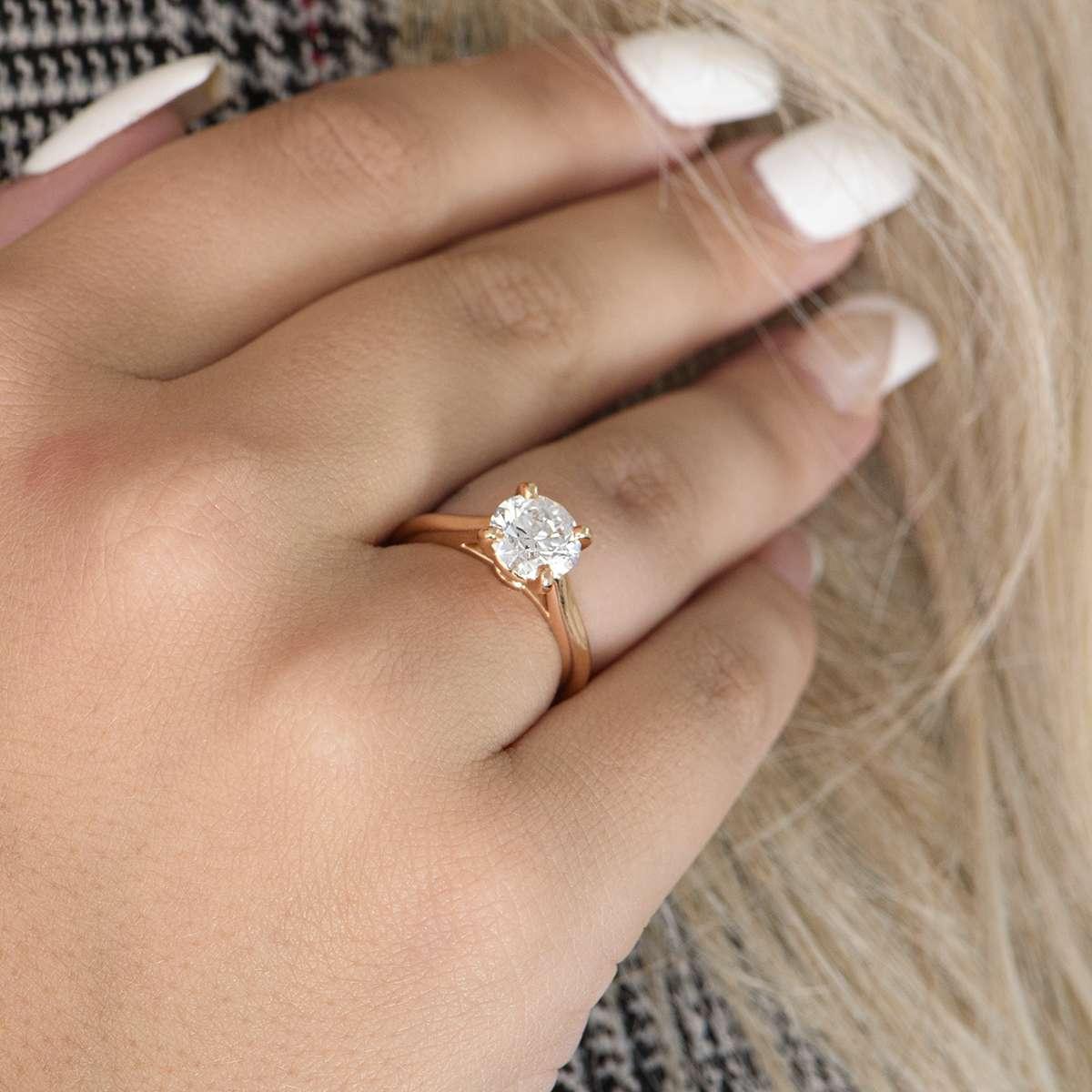 Cartier Rose Gold Solitaire 1895 Diamond Ring 1.64ct H/VVS1 XXX